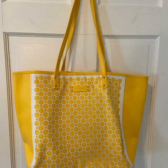 Vera Bradley yellow and white faux leather tote